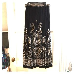 Black & Cream Tribal Maxi Skirt